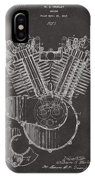 1923 Harley Engine Patent Art - Gray IPhone Case