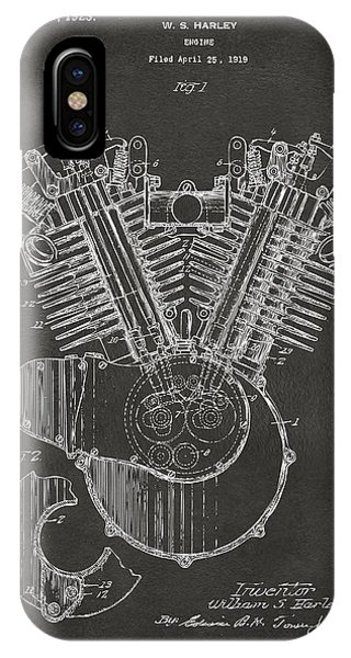 Harley iPhone Case - 1923 Harley Engine Patent Art - Gray by Nikki Marie Smith