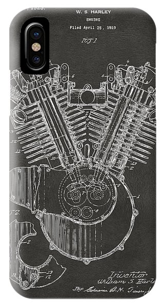 IPhone Case featuring the digital art 1923 Harley Engine Patent Art - Gray by Nikki Marie Smith