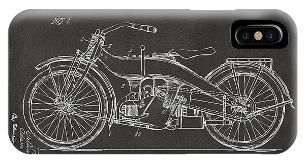 Harley iPhone Case - 1924 Harley Motorcycle Patent Artwork - Gray by Nikki Marie Smith