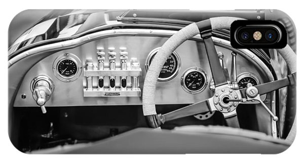 Martin iPhone Case - 1925 Aston Martin 16 Valve Twin Cam Grand Prix Steering Wheel -0790bw by Jill Reger