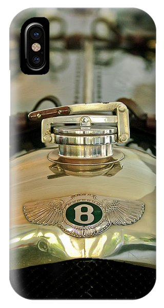 Auto Show iPhone Case - 1925 Bentley 3-liter 100mph Supersports Brooklands Two-seater Radiator Cap by Jill Reger