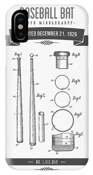 1926 Baseball Bat Patent Drawing IPhone Case