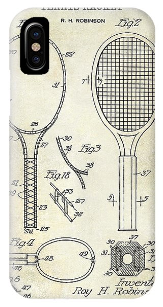 Racquet iPhone Case - 1927 Tennis Racket Patent Drawing  by Jon Neidert