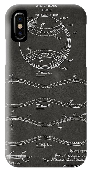 Patent Drawing iPhone Case - 1928 Baseball Patent Artwork - Gray by Nikki Marie Smith