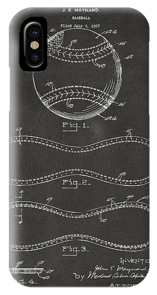 Hobby iPhone Case - 1928 Baseball Patent Artwork - Gray by Nikki Marie Smith