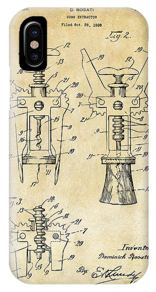 1928 Cork Extractor Patent Art - Vintage Black IPhone Case