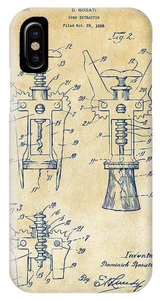 Manly iPhone Case - 1928 Cork Extractor Patent Artwork - Vintage by Nikki Marie Smith