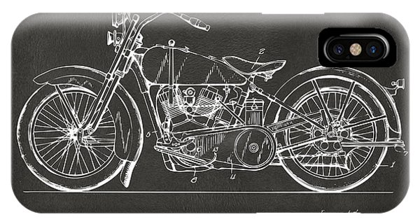 Patent Office iPhone Case - 1928 Harley Motorcycle Patent Artwork - Gray by Nikki Marie Smith