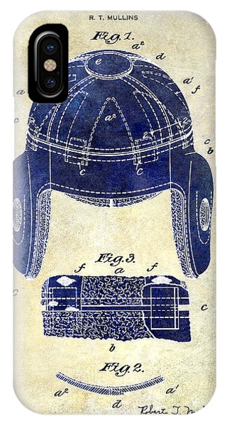 1929 Football Helmet Patent Drawing 2 Tone IPhone Case