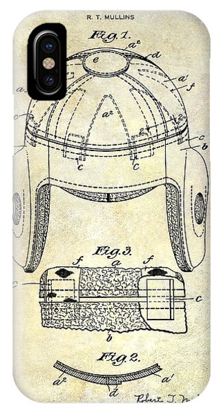 1929 Football Helmet Patent Drawing IPhone Case