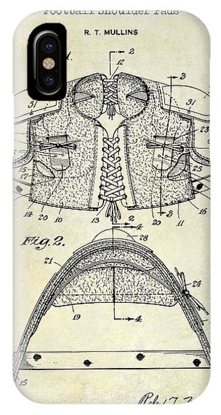 1929 Football Shoulder Pads Patent Drawing IPhone Case