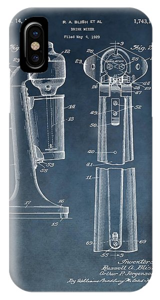 1930 Drink Mixer Patent Blue IPhone Case