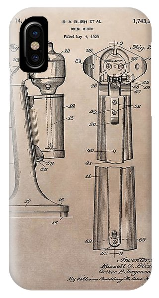 1930 Drink Mixer Patent IPhone Case