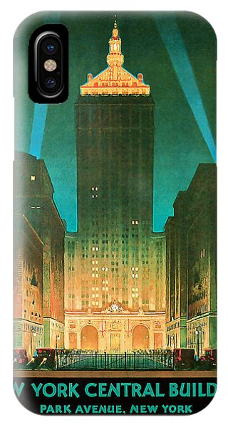 1930 New York Central Building - Vintage Travel Art IPhone Case