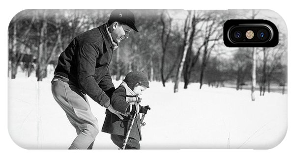 Cold Day iPhone Case - 1930s Father & Son Man Wearing Jacket by Vintage Images