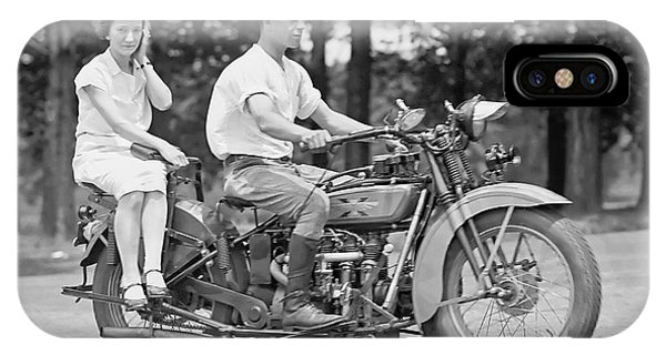 Motorcycle iPhone Case - 1930s Motorcycle Touring by Daniel Hagerman