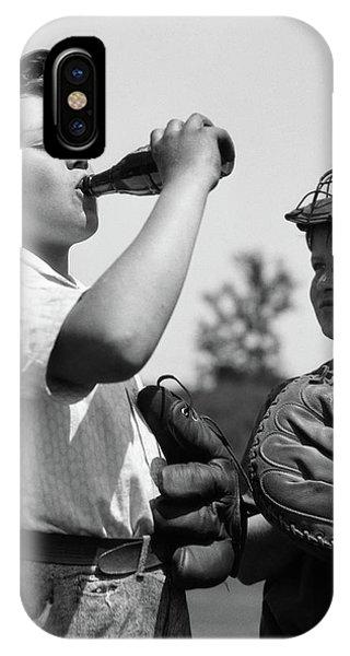 1930s Pair Of Boys Wearing Baseball IPhone Case