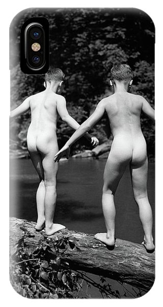 Physical iPhone Case - 1930s Rear View Pair Naked Skinny- by Vintage Images
