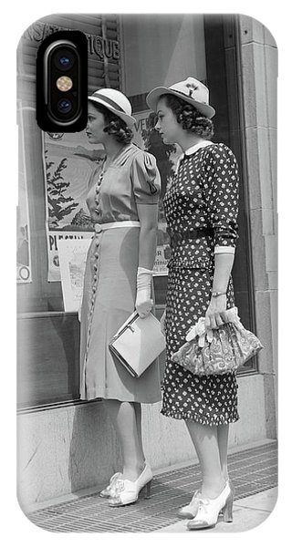 Window Shopping iPhone Case - 1930s Two Young Women Window Shopping by Vintage Images