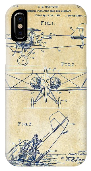 Manly iPhone Case - 1931 Aircraft Emergency Floatation Patent Vintage by Nikki Marie Smith