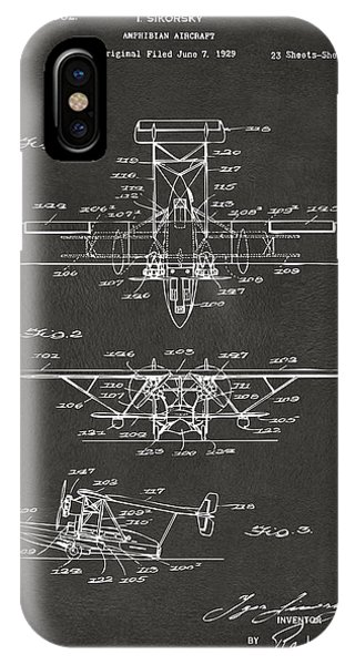 Patent Office iPhone Case - 1932 Amphibian Aircraft Patent Gray by Nikki Marie Smith