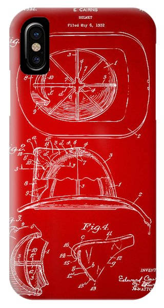 Patent Office iPhone Case - 1932 Fireman Helmet Artwork Red by Nikki Marie Smith
