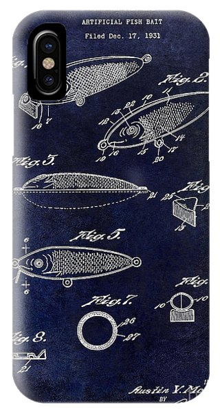 1932 Fishing Patent Drawing Blue IPhone Case