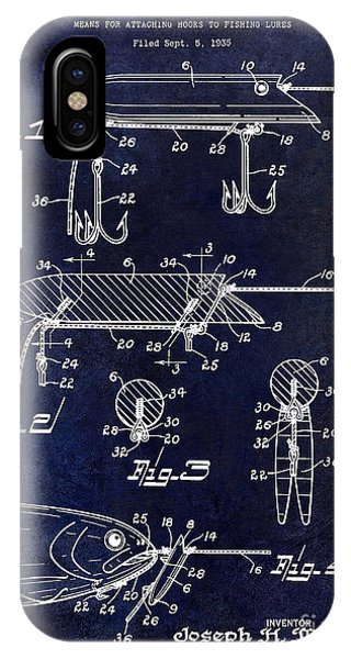 1935 Fishing Lure Patent Blue IPhone Case