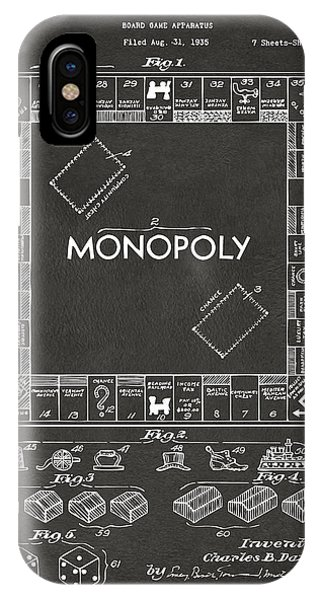 1935 Monopoly Game Board Patent Artwork - Gray IPhone Case
