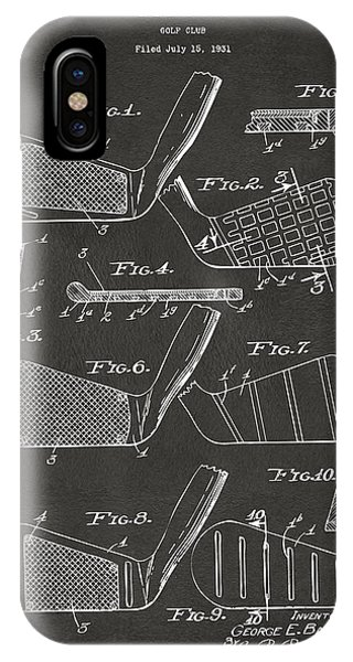 1936 Golf Club Patent Artwork - Gray IPhone Case