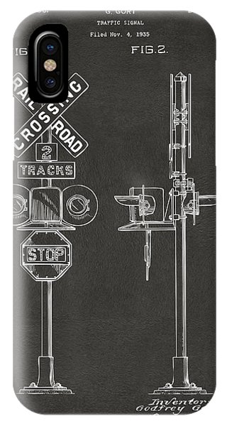 1936 Rail Road Crossing Sign Patent Artwork - Gray IPhone Case