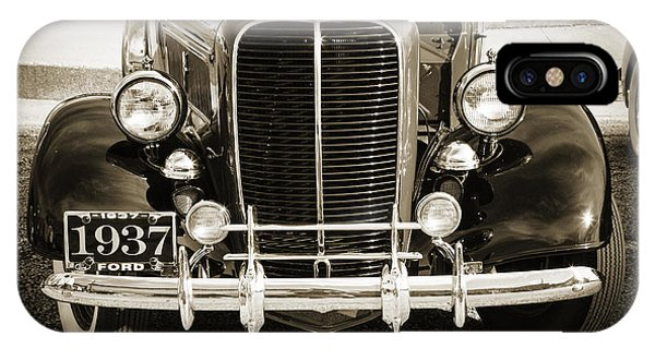 1937 Ford Pickup Truck Classic Car Front End Photograph In Sepia IPhone Case