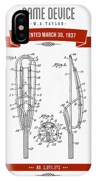 1937 Game Device Patent Drawing - Retro Red IPhone Case
