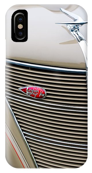 Coupe iPhone Case - 1937 Lincoln-zephyr Coupe Sedan Grille Emblem - Hood Ornament by Jill Reger