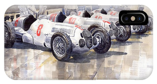 Automotive iPhone Case - 1937 Monaco Gp Team Mercedes Benz W125 by Yuriy Shevchuk