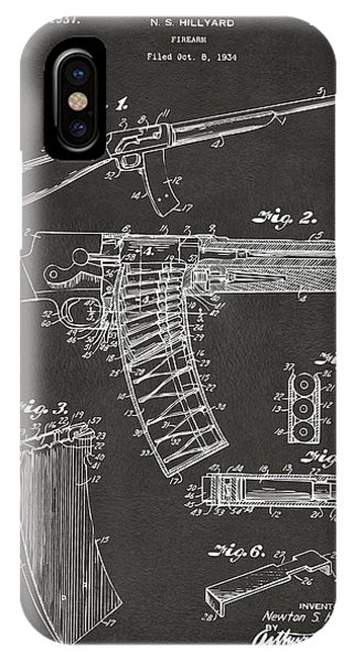 Weapons iPhone Case - 1937 Police Remington Model 8 Magazine Patent Artwork - Gray by Nikki Marie Smith