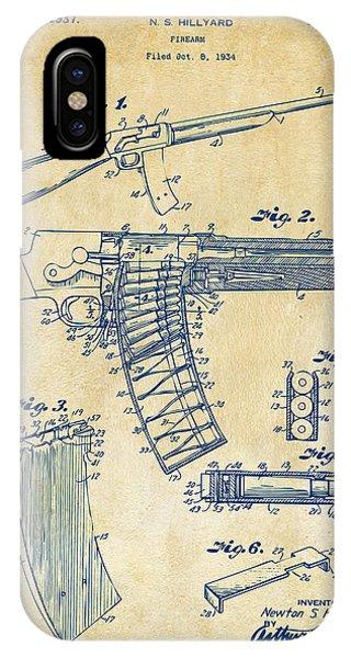 1937 Police Remington Model 8 Magazine Patent Artwork - Vintage IPhone Case