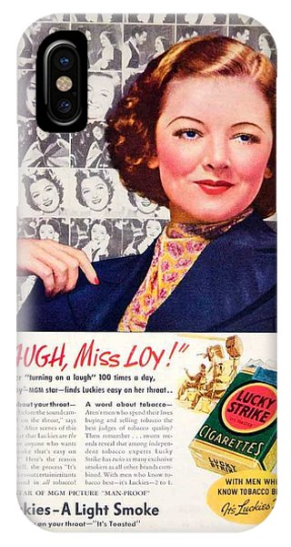 1938 - Lucky Strike Cigarettes Advertising - Myrna Loy - Color IPhone Case