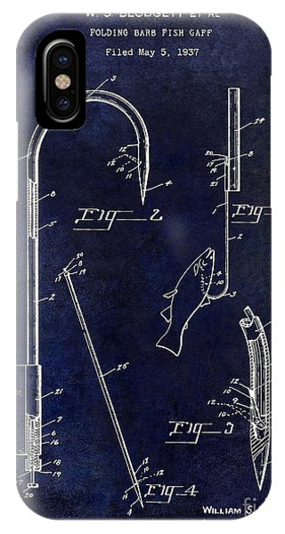 1938 Fishing Gaff Patent Drawing Blue IPhone Case