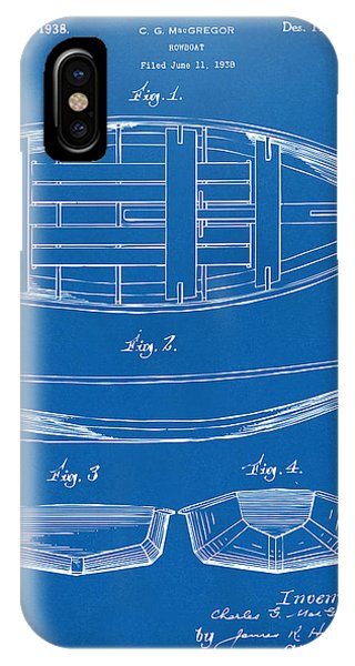 1938 Rowboat Patent Artwork - Blueprint IPhone Case