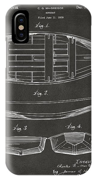 1938 Rowboat Patent Artwork - Gray IPhone Case