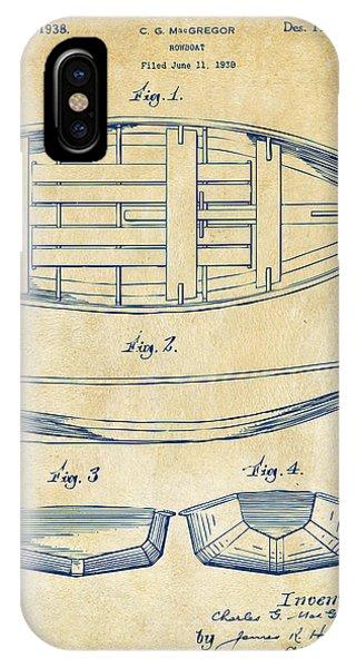 1938 Rowboat Patent Artwork - Vintage IPhone Case