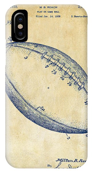 Patent Drawing iPhone Case - 1939 Football Patent Artwork - Vintage by Nikki Marie Smith