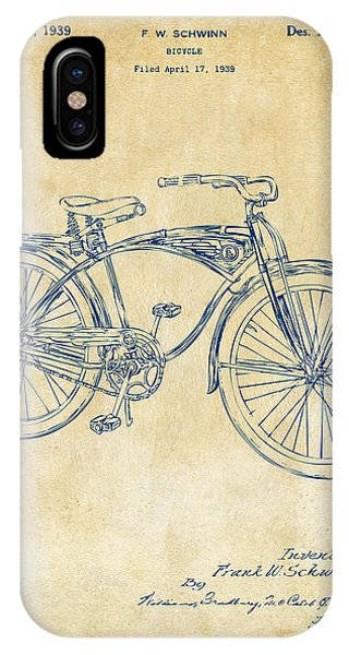 Bicycle iPhone X Case - 1939 Schwinn Bicycle Patent Artwork Vintage by Nikki Marie Smith