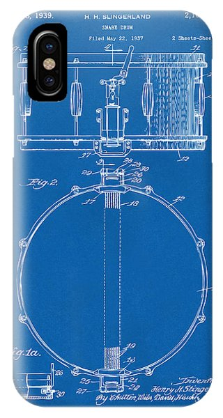 Drum iPhone X / XS Case - 1939 Snare Drum Patent Blueprint by Nikki Marie Smith