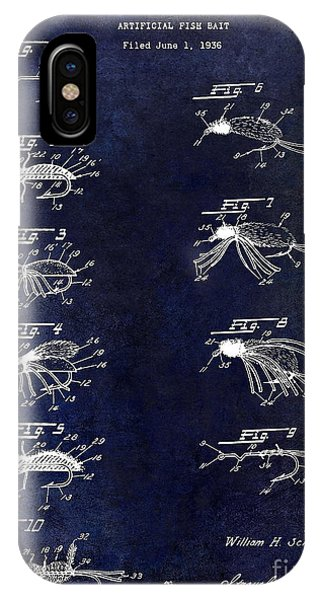 1940 Artificial Fishing Bait Patent Drawing Blue IPhone Case