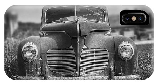 Chrome iPhone Case - 1940 Desoto Deluxe Black And White by Scott Norris