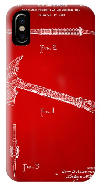 Patent Office iPhone Case - 1940 Firemans Axe Artwork Red by Nikki Marie Smith