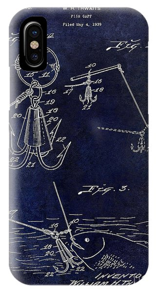 1940 Fishing Gaff Patent Drawing Blue IPhone Case